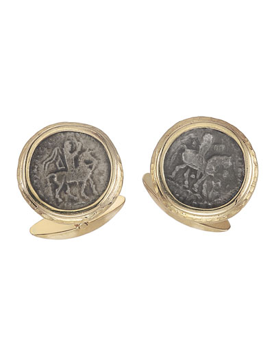 Men's Ancient Azes II Coin 18K Gold Cufflinks