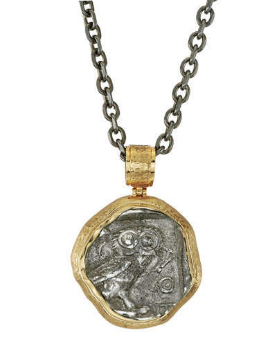 The Owl of Athena Reversible Coin Pendant from Jorge Adeler in 18k Gold