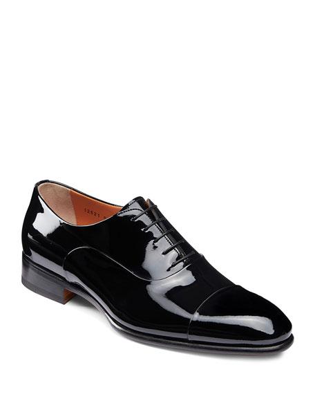 Santoni Shoes MEN'S ISAAC PATENT LEATHER LACE-UP SHOES