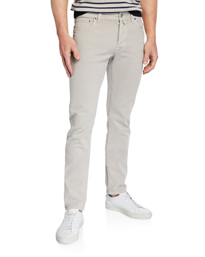 Men's Cotton-Stretch Straight-Leg Pants