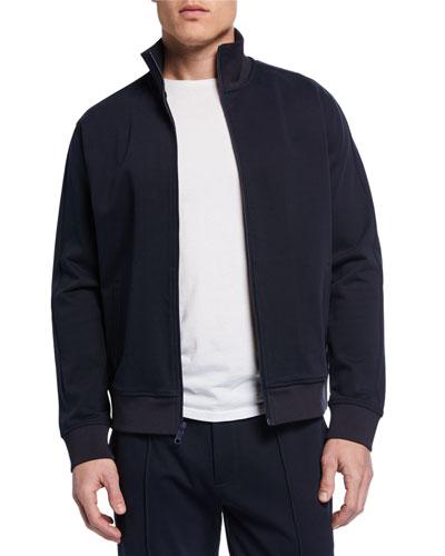 Men's Zip-Front Structured Cotton Track Jacket