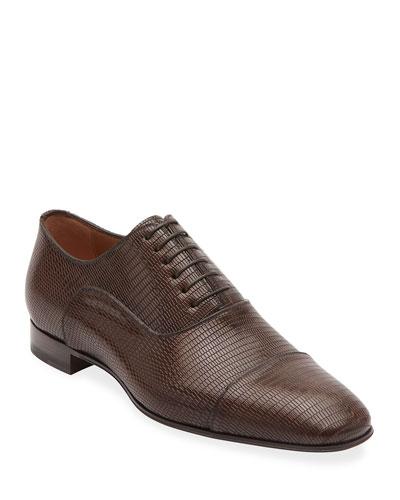 Men's Greggo Textured-Leather Dress Shoes
