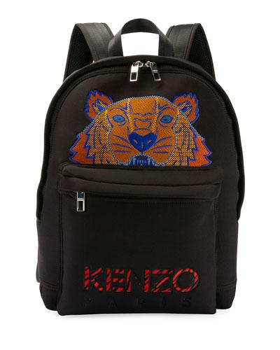 Men's Tiger-Embroidered Rucksack Backpack