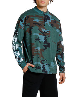 Off-White Men's Camo Diagonal-Arrows Mock-Neck Sweatshirt