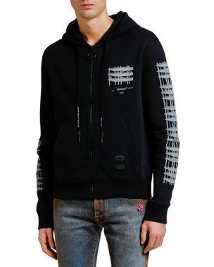Off-White Men's Diagonal Indus Slim Zip-Front Hoodie
