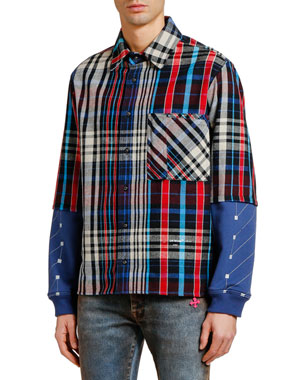 Off-White Men's Jersey-Sleeve Plaid Sport Shirt