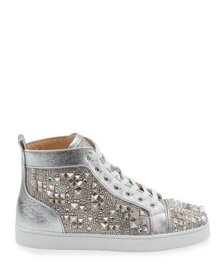 Men's Studded Metallic Leather High-Top Sneakers