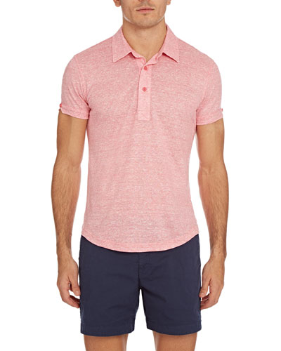 Sebastian Striped Linen Polo Shirt