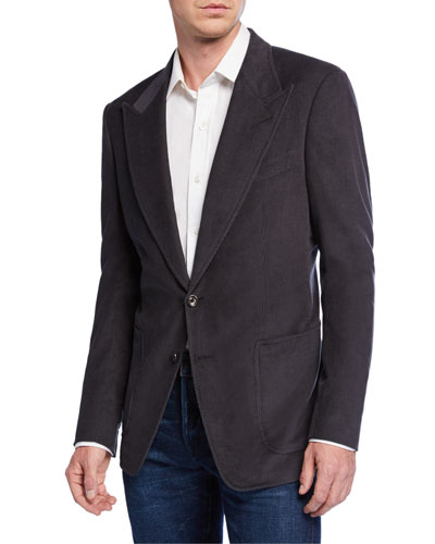 Men's Shelton Corduroy Two-Button Jacket  Gray