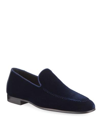 Men's Velvet Moc-Toe Loafers