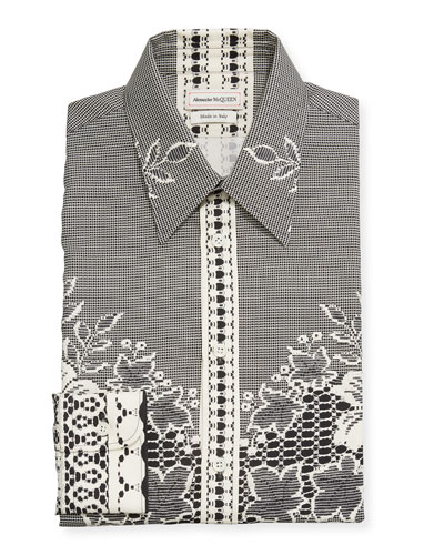 Men's Lace-Print Silk Dress Shirt