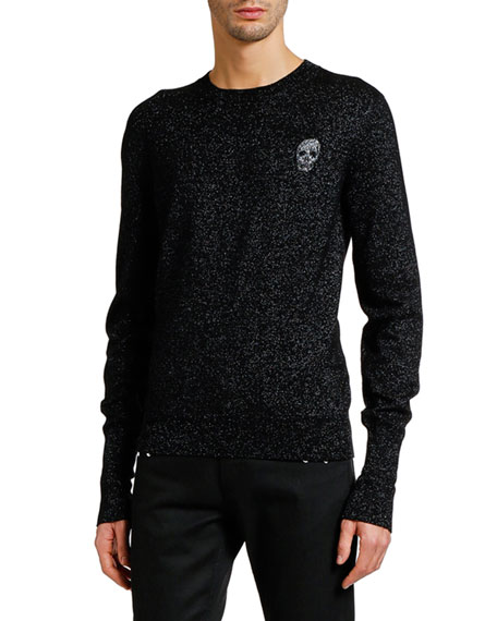 Image 1 of 1: Men's Metallic Crewneck Sweater with Skull Detail