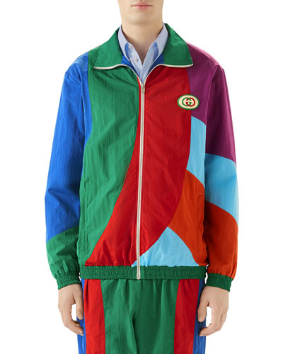 Men's Geometric Colorblocked Track Jacket