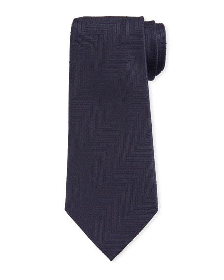 Men's Large Chevron Silk Tie, Navy