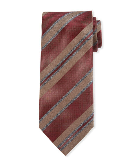Basketweave Stripe Silk Tie