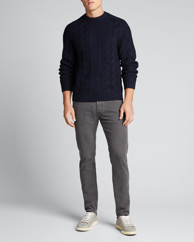 Men's Cable-Knit Wool-Cashmere Sweater