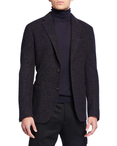 Men's Melange Alpaca Two-Button Jacket