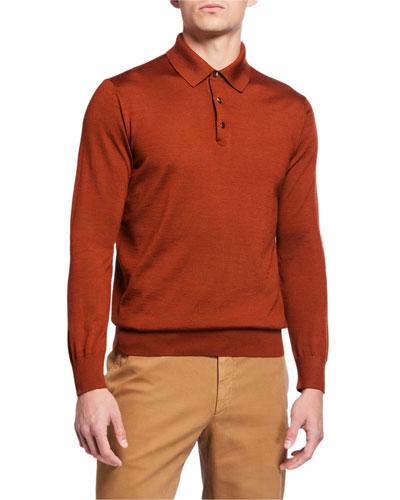 Men's Long-Sleeve Cashmere-Silk Polo Shirt, Pumpkin