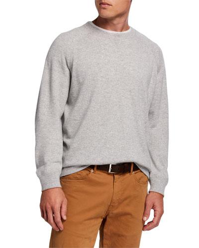 Men's Athletic Raglan-Sleeve Cashmere Sweater