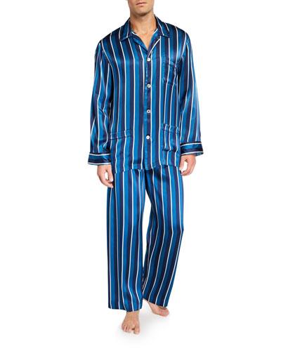 Men's Brindisi 40 Striped Silk Pajamas