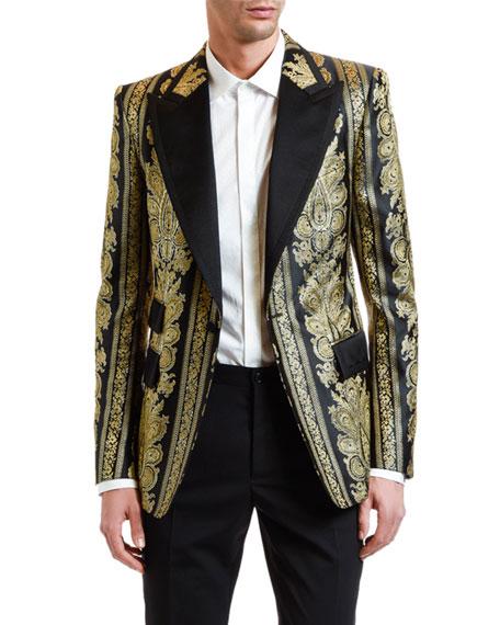 Men's Metallic Jacquard Peaked-Lapel Sport Jacket