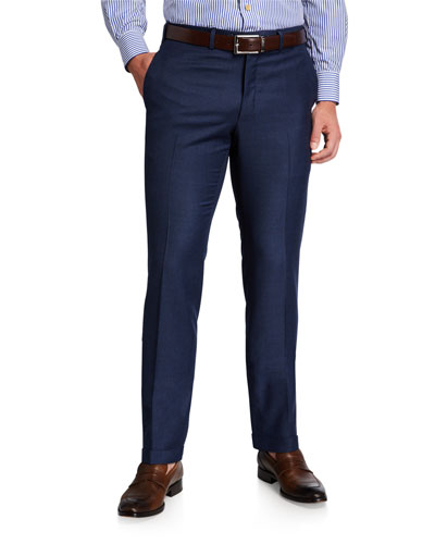 Men's Wool Flat-Front Dress Pants  Blue