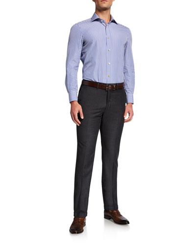 Men's Wool Flat-Front Dress Pants  Charcoal