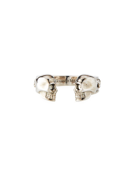 Men's Decorative Skull Cuff Ring, Size 9-10