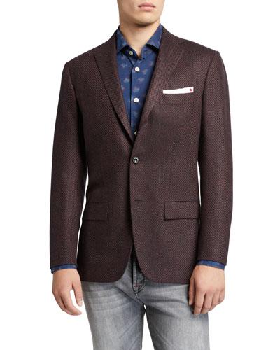 Men's Tic-Pattern Two-Button Jacket