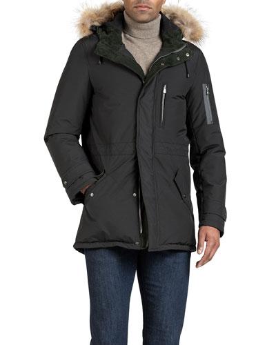 Men's Parka Coat w/ Fur Trim