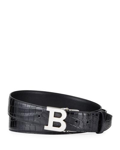 Men's Croc-Embossed Leather Belt
