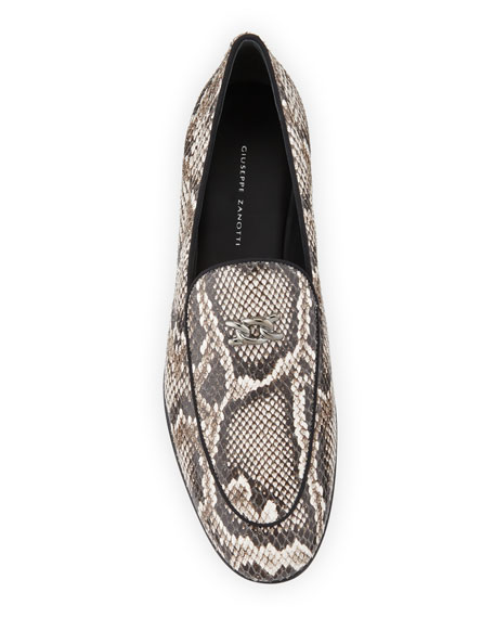 Men's Snake-Embossed Leather Loafers