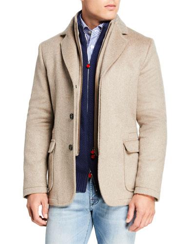 Men's Three-Button Jacket w/ Zip-Front Bib