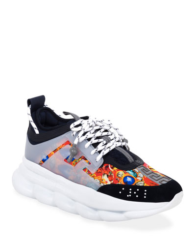 Men's Chain Reaction Caged-Print Sneakers