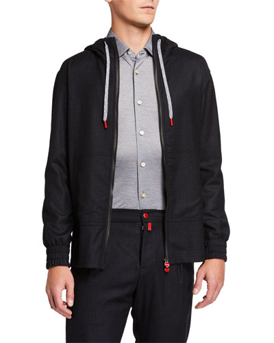 Men's Tonal-Check Zip-Front Jacket