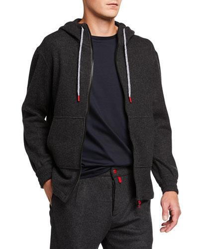 Men's Cashmere-Blend Jersey Hoodie Jacket