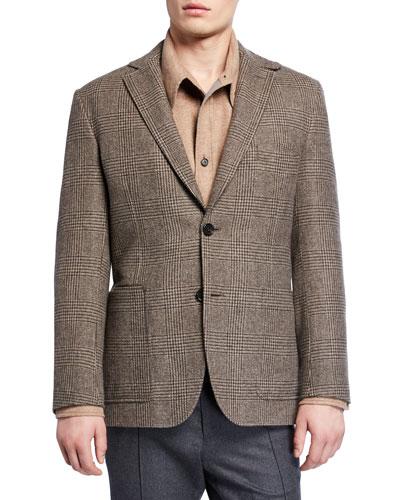Men's Plaid Patch-Pocket Two-Button Jacket