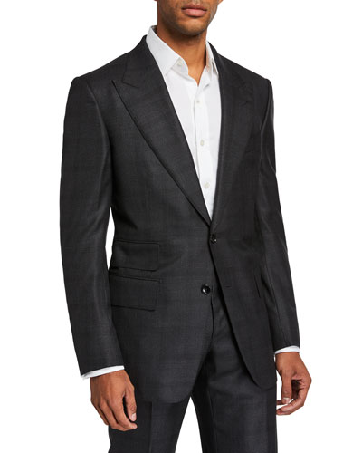 Men's Windsor-Peak Micro-Structure Two-Piece Suit