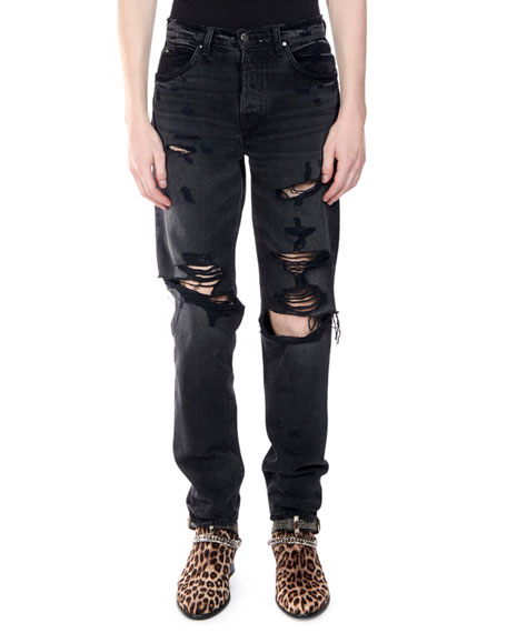 Men's Destroyed Slouch Denim Jeans