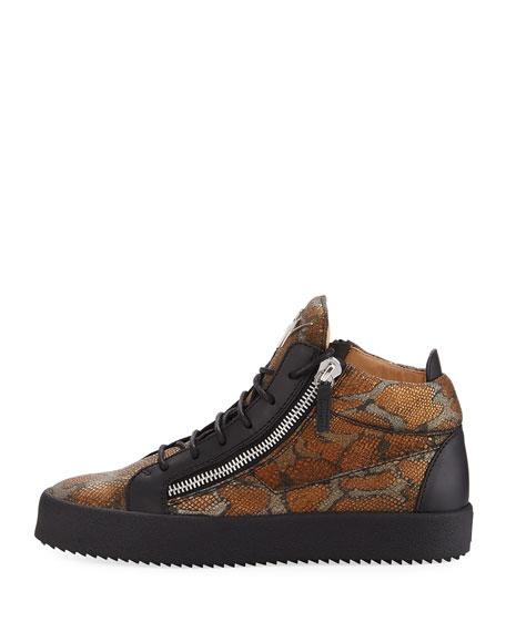 Men's Embossed Leather Mid-Top Sneakers