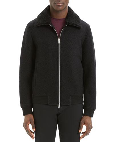 Men's Wyatt Bergen Shearling-Collar Jacket