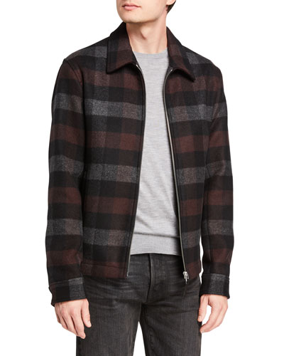 Men's Wyatt Mosaic Plaid Zip-Front Coat
