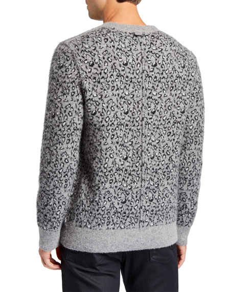 Men's Leopard-Print Crewneck Sweater
