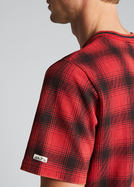Men's Printed Plaid Crewneck T-Shirt