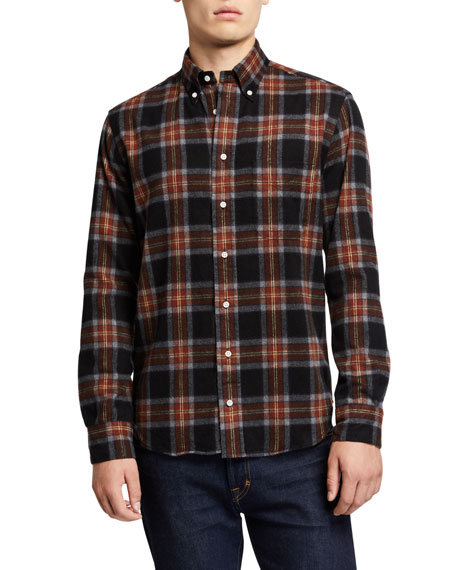 Image 1 of 1: Men's Shaggy Brushed Plaid Oxford Sport Shirt