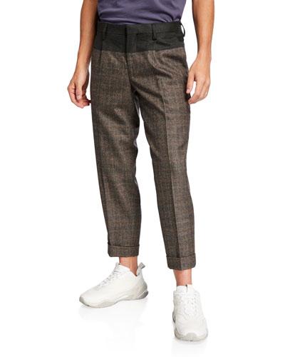 Men's Glen Plaid Cuffed Top-Block Trousers