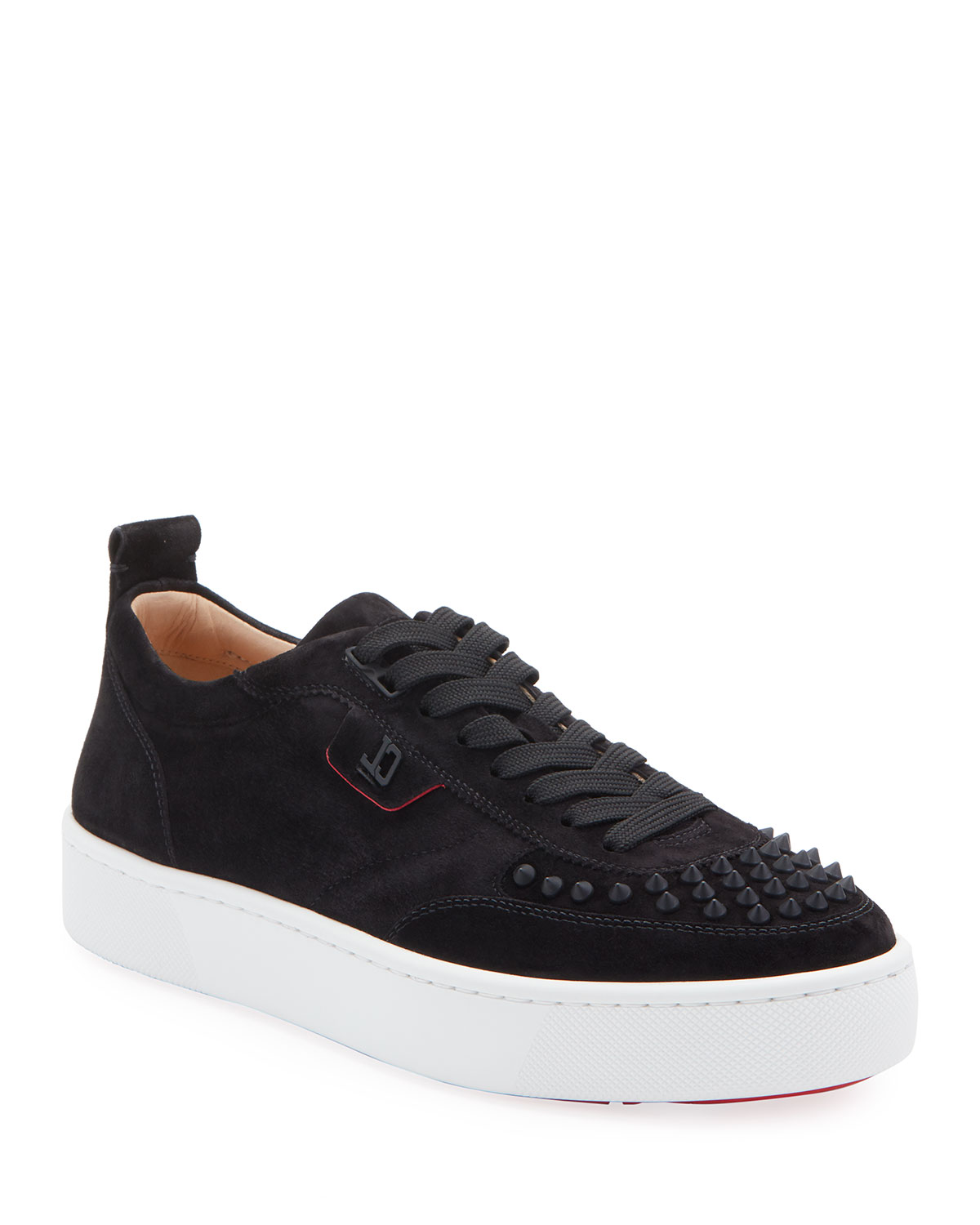 Christian Louboutin Platforms MEN'S HAPPY RUI SPIKED VELOUR PLATFORM SNEAKERS