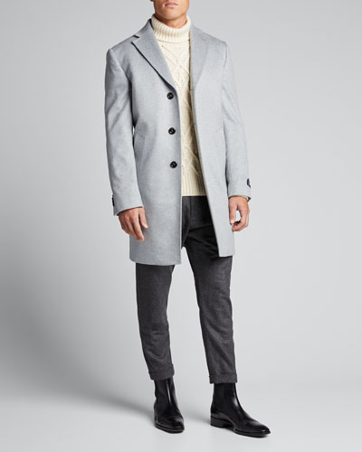 Men's Solid Cashmere Topcoat