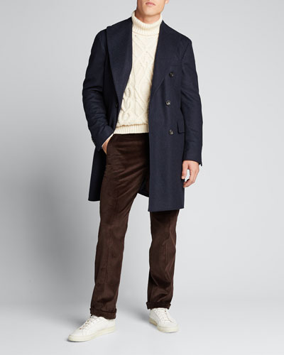 Men's Cashmere Double-Breasted Topcoat
