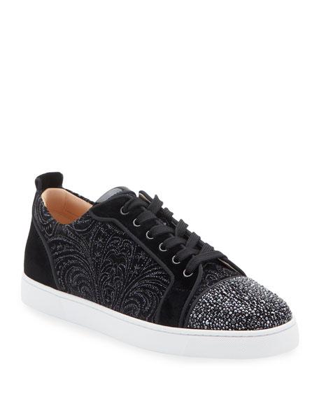 Men's Louis Junior Jeweled-Velour Low-Top Sneakers